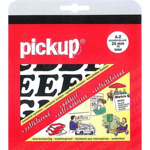 Pickup plakletters A-Z zwart 25mm