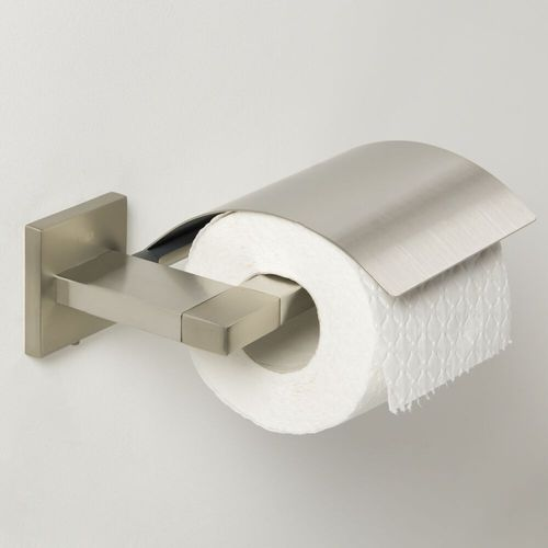 Porte-rouleau de papier toilette avec couvercle Tiger Items acier inoxydable brossé