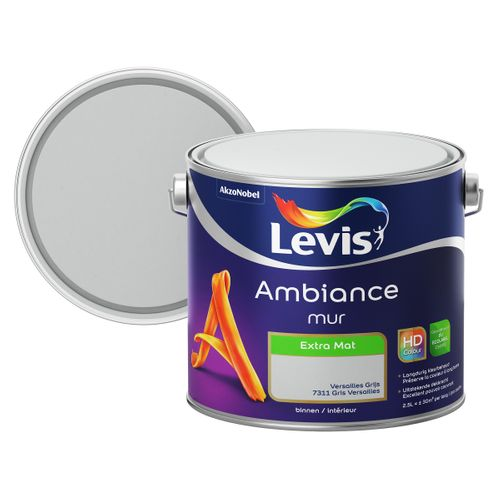 Levis muurverf Ambiance Mur Versailles grijs extra mat 2,5L