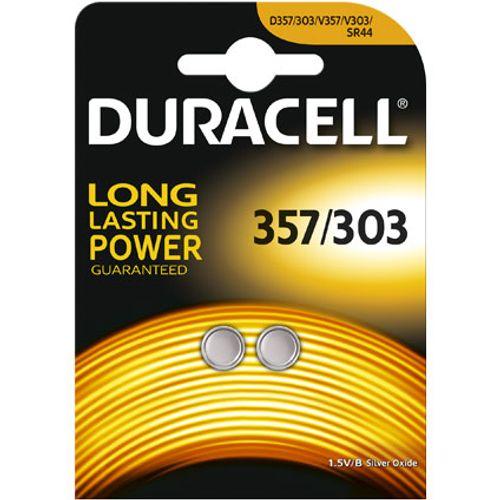 Pile bouton silver oxide Duracell '357/303' 1,5 V - 2 pcs
