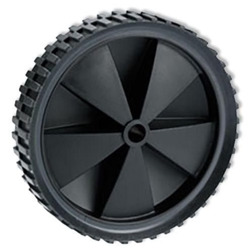 Döner wiel voor grasmaaier met velg glijlager PVC zwart 150mm 25kg