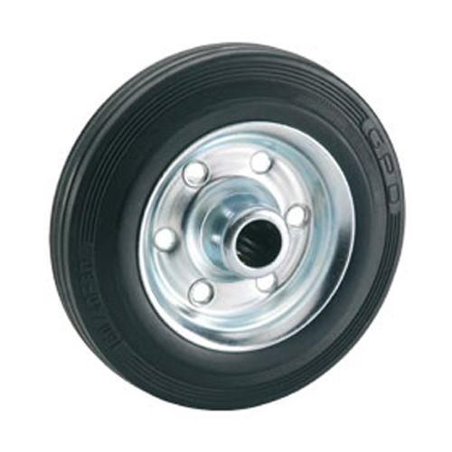 Döner standaard massief wiel met stalen velg rollager rubber zwart 200 x 50 x 20mm 210kg