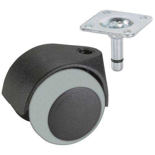 Döner dubbe wiel vast met plaat TPE voor parket glijlager zwart / grijs 50mm 40kg