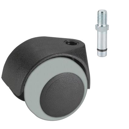 Döner dubbe wiel vast pin TPE voor parket glijlager zwart / grijs 50mm 40kg