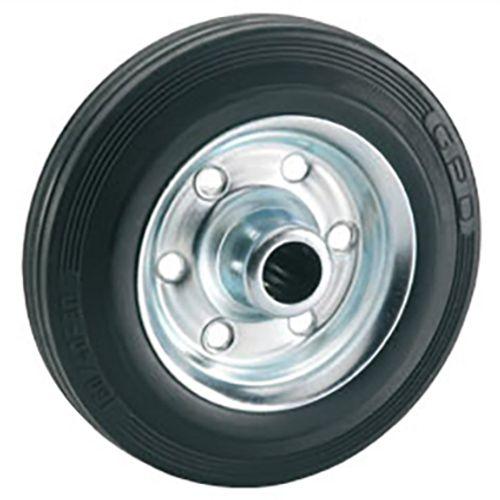 Döner standaard massief wiel met stalen velg rollager rubber zwart 80 x 25 x 12mm 50kg