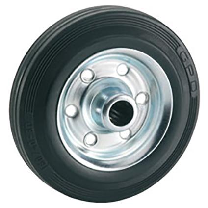 Döner standaard massief wiel met stalen velg rollager rubber zwart 100 x 30 x 12mm 70kg