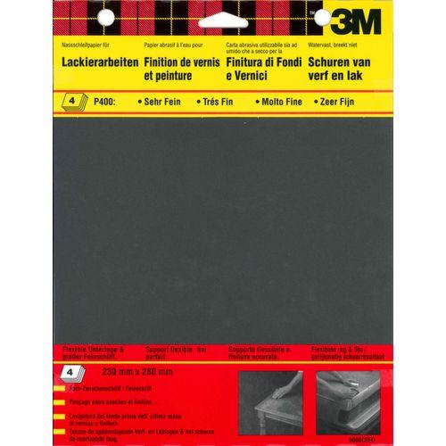 3M schuurpapier watervast vellen korrel 400 extra fijn 4 stuks