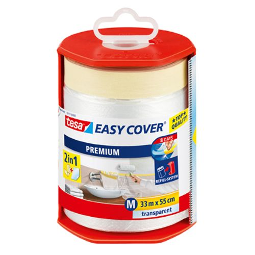 Derouleur bâche de protection et ruban de masquage Tesa 'Easy Cover' transparent 33mx55cm