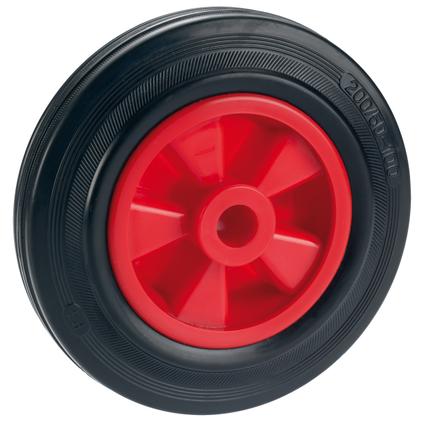 Döner standaard massief wiel met PVC velg glijlager rubber zwart / rood 160 x 40 x 20mm 120kg