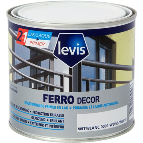 Primer et laque antirouille Levis 'Ferro Decor' blanc brillant 0,5L