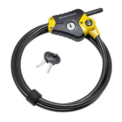 Câble articulé à clé Master Lock 'Python' acier noir/jaune 180 cm