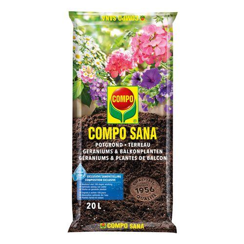 Terreau géraniums et plantes de balcon Compo Sana 20L