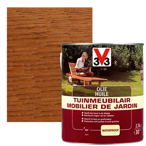 Huile mobilier de jardin V33 teck mat 1L