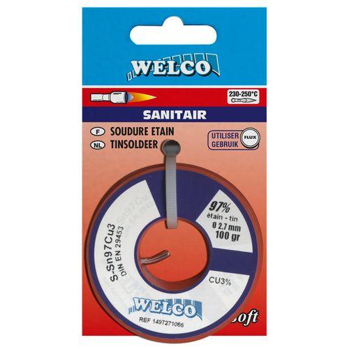Fil de brasure tendre Welco pour sanitaire étain 100 gr