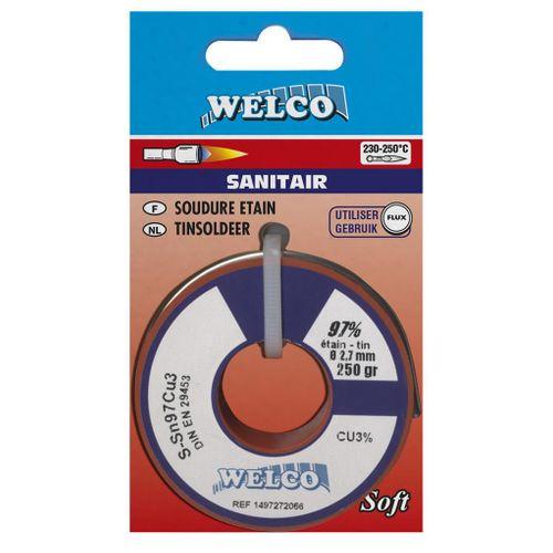 Fil de brasure tendre Welco pour sanitaire étain 250 gr