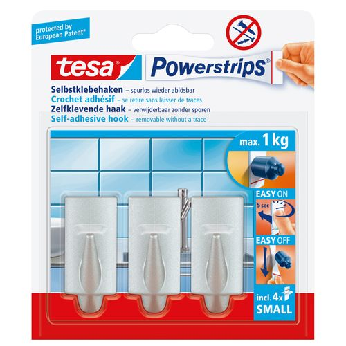 Crochets Tesa 'Powerstrips' small chrome - 3 pcs