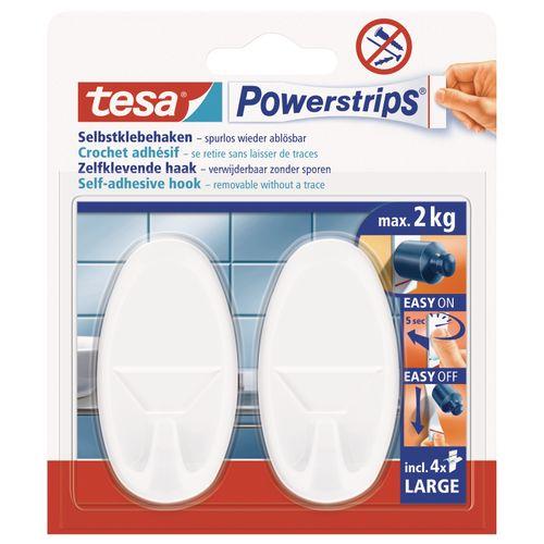 Crochet Tesa 'Powerstrips' large oval blanc