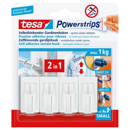 Tesa Powerstrips haken voor gordijnroede 1kg - 4 stuks