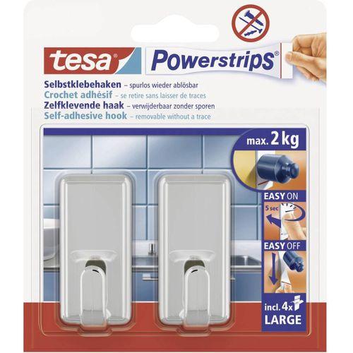 Tesa Powerstrips zelfklevende haak chroom 2kg - 2 stuks