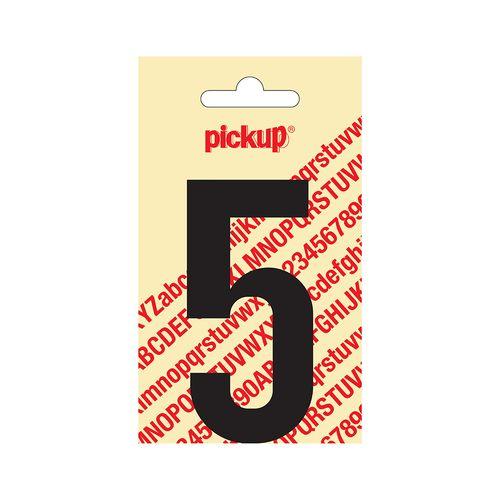 Pickup plakcijfer vijf zwart mat 90 mm