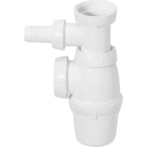 Siphon d'évier Wirquin Ø40mm avec raccord pour lave-vaisselle blanc