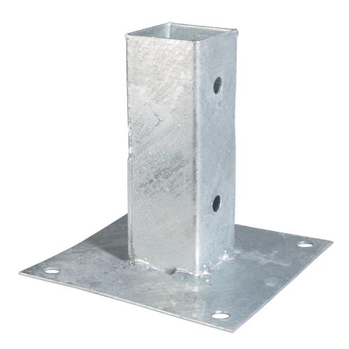 Schroefbare voetplaat verzinkt staal 91 x 91 mm