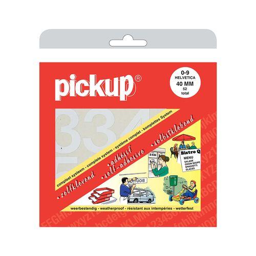 Pickup plakcijfers nul-negen wit 40mm