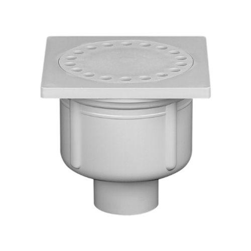 Siphon de sol Martens 'Plaque 10 x 10 cm' PVC diam 40 mm