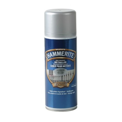 Spray laque métaux Hammerite brillant gris argent 400ml