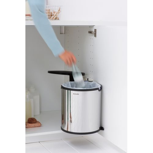 Poubelle encastrable Brabantia Built-In Bin brilliant steel 15L
