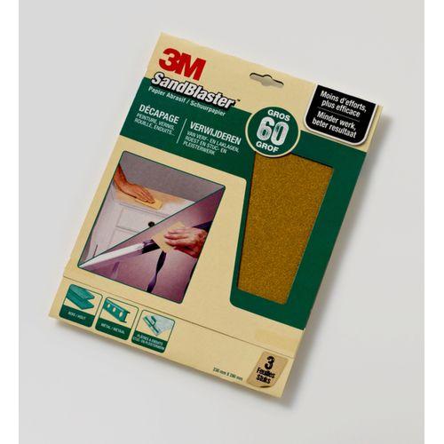 3M schuurpapier Sandblaster vellen grof P60 3 stuks