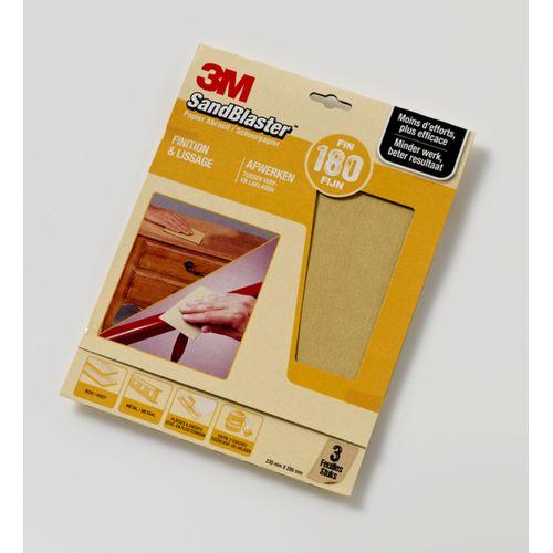 3M schuurpapier Sandblaster vellen fijn P180 3 stuks