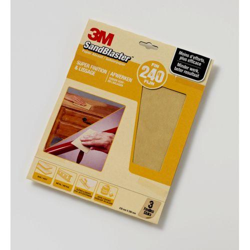 3M schuurpapier Sandblaster vellen fijn P240 3 stuks