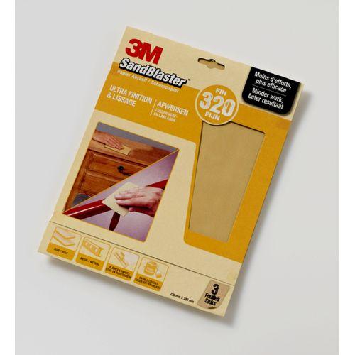 3M schuurpapier Sandblaster vellen fijn P320 3 stuks