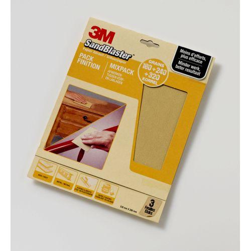 3M schuurpapier Sandblaster vellen fijn P180/P240/P320 3 stuks