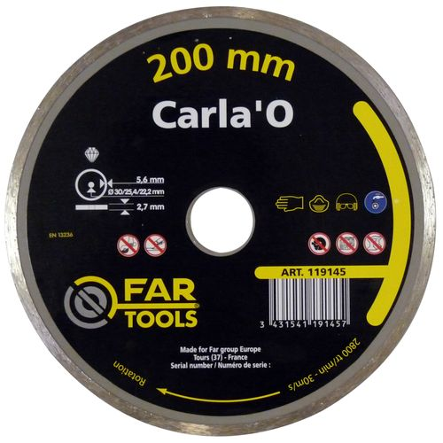 Disque diamant alésage Far Tools 'Carla'O HQ Cobalt' 20 cm