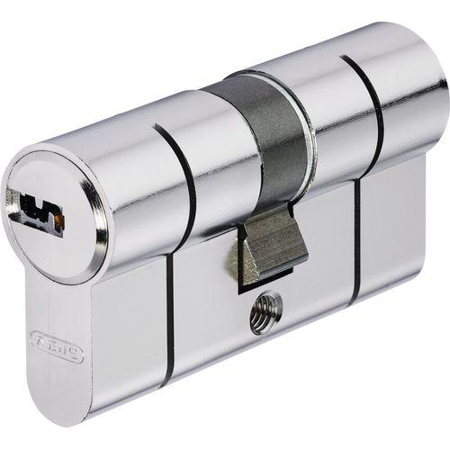 """Cylindre de sécurité nickelé Abus """"30/30 mm""""  à clé alvéolaire"""