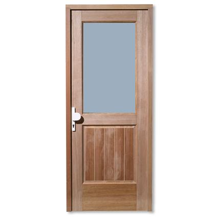 Bloc porte extérieur JéWé 'Bruxelles' bois dur droite 83cm