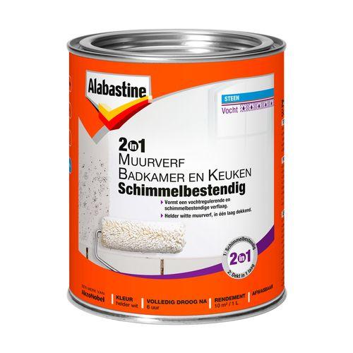 Alabastine muuverf 2in1 badkamer en keuken wit 1l