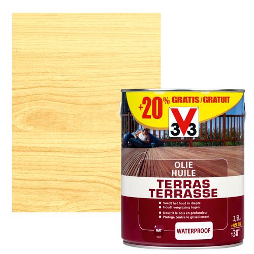 V33 terrasolie transparant mat 2,5L +20%