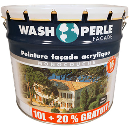 Peinture façade Wash Perle acryl blanc 12L