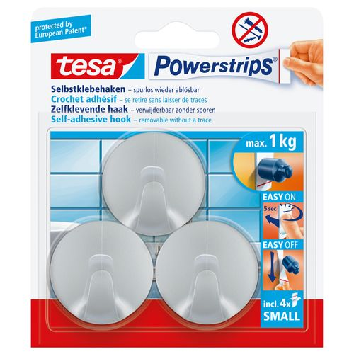 Tesa Powerstrips zelfklevende haak rond chroom 1kg - 3 stuks
