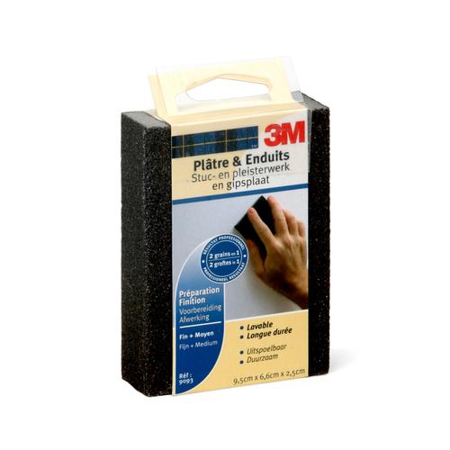 Eponge abrasive 2 en 1 3M pour plâtre et enduits fin et moyen 9 cm