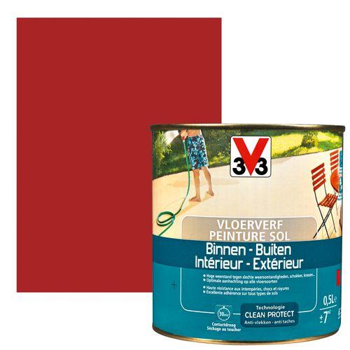 Peinture sol V33 intérieur/extérieur rouge laqué satiné 500ml
