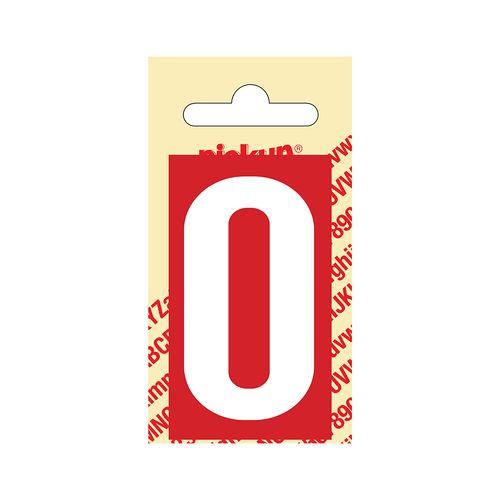 Pickup cijfer 0 zelfklevend PVC 60mm rood