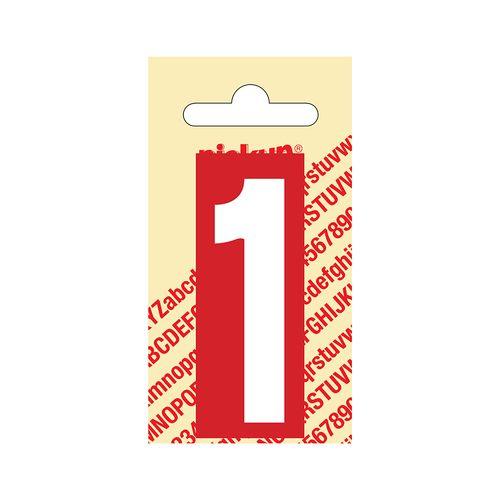 Pickup cijfer 1 zelfklevend PVC 60mm rood