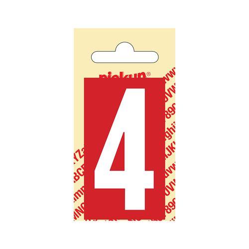 Pickup cijfer 4 zelfklevend PVC 60mm rood