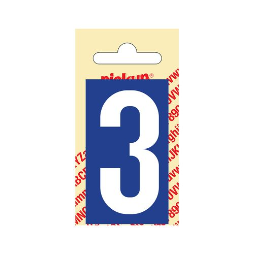Pickup cijfer 3 zelfklevend PVC 60mm blauw
