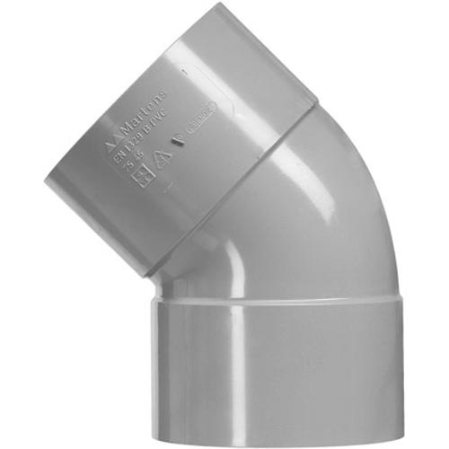 Martens PVC bocht 75mm 2xlm 45gr grijs