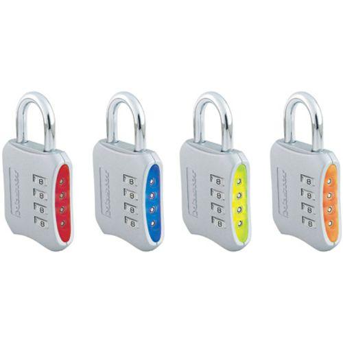 Master Lock hangslot met combinatie '653EURD' metaal blauw, rood, groen, oranje 50 mm